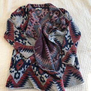 RD Style Tribal print draped cardigan L